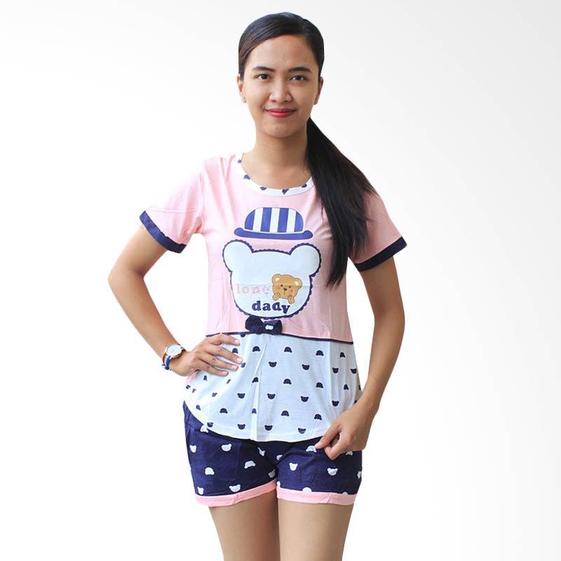 Aily 1622 Setelan Baju Tidur Celana Pendek Wanita - Pink