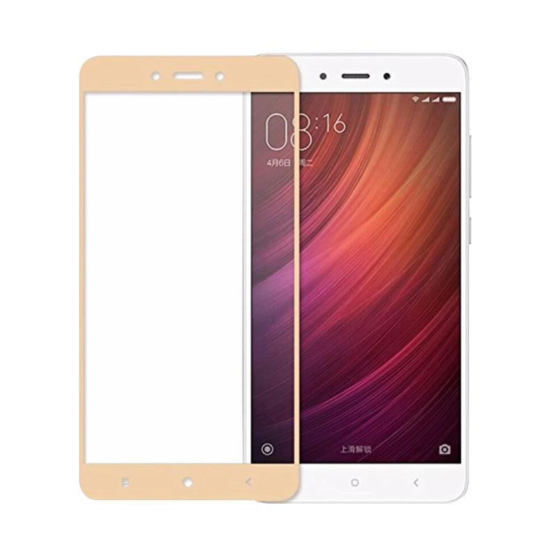 QCF Tempered Glass Warna Full Gold Only Front / Depan Saja for Xiaomi Redmi 4A Screen Protector Anti Gores Kaca - Gold