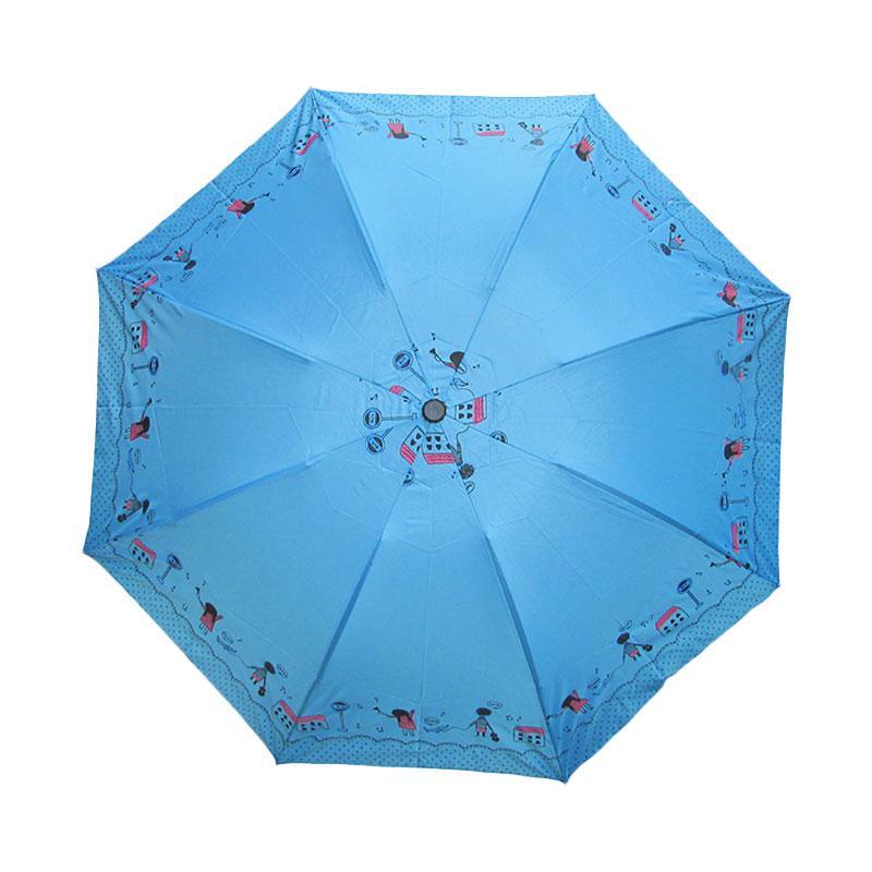 Ulasan Terbaru Rainy Collections Motif Anak Sekolah Payung Lipat - Biru Dan Harganya