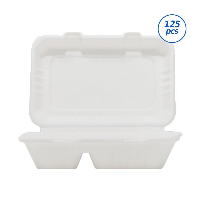 Avani Bagasse Food Box 2 Compartment Perangkat Saji [1000 mL/ 125 pcs/pack]