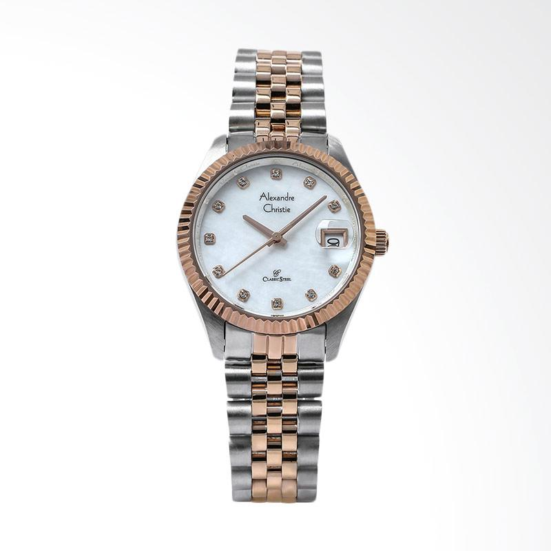 Alexandre Christie AC 5006 LD BTRMS Ladies Mother of Pearl Dial Jam Tangan Wanita - Silver Rose Gold