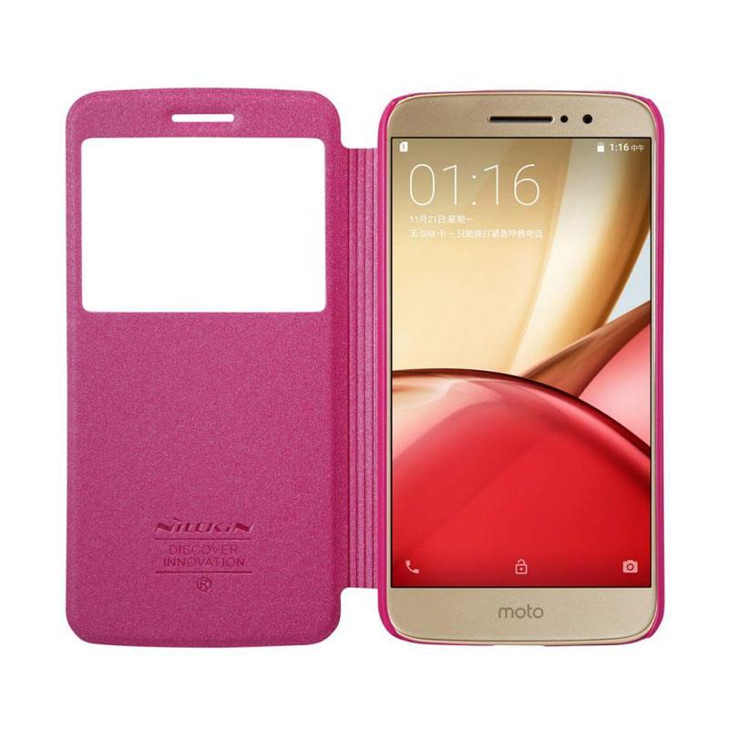 in stock dea13 0d84c Nillkin Sparkle Leather Flip Cover Casing for Motorola Moto M - Pink