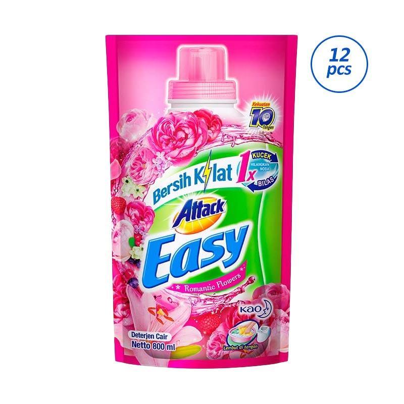 ATTACK Easy Liquid Romantic Flower Pouch Detergent [800 mL/12 pcs]
