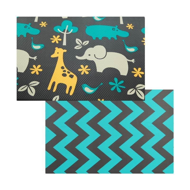 Daedong Zig Zag Playmat Animals Alas Lantai - Blue [210 x 140 x 1.4 cm]