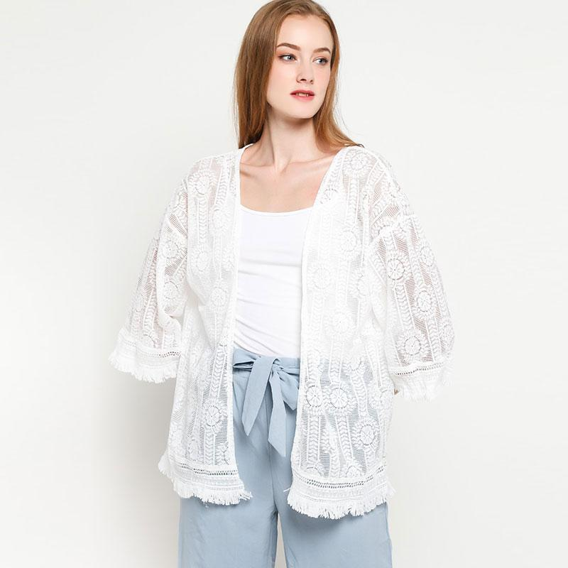Ben Bella C27 028 Lace Flower Cover Up Outer Wanita White