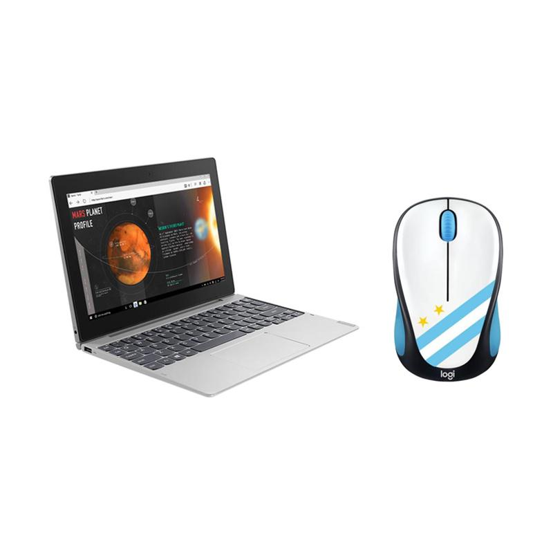 """Lenovo D330 2-in-1 Laptop - Silver [Celeron® N4000 / 128GB eMMC / 4GB DDR4L / Win 10 / 10.1"""" FHD Touch] Free Logitech M238 Mouse Soccer 2018 Argentina"""