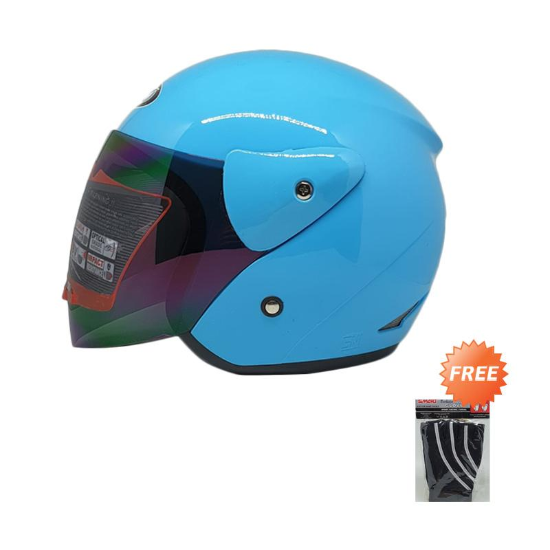 GIX Lotus Jet Solid Helm Half Face + Free Hand Glove