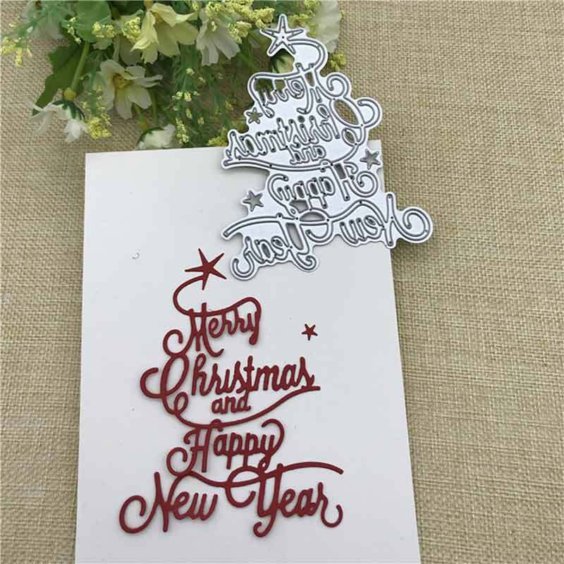 Bluelans Merry Christmas Happy New Year Letter Scrapbook Paper DIY Metal Cutting Dies