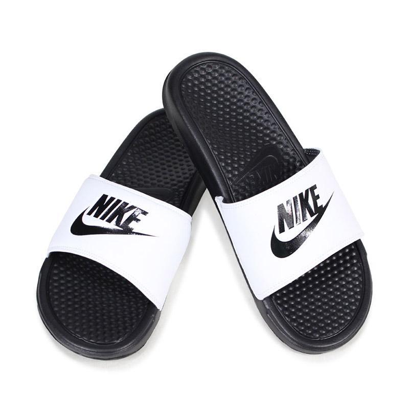 release info on various design meet Jual NIKE Benassi JDI Slides Men Sandals - White Black [343880-100 ...