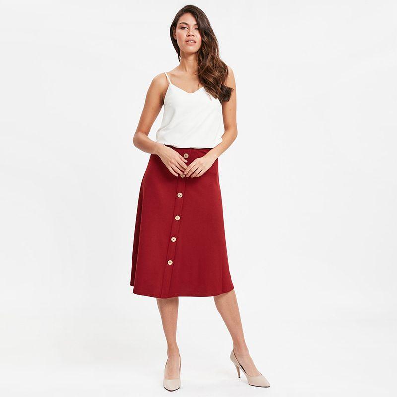 Buttoned Flare Skirt Wanita