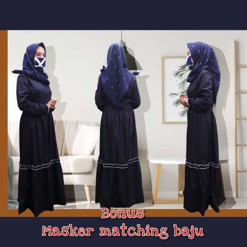 Jual Gamis Baju Muslim Syari Polos Renda Biru Navy Dongker Birdong Online Maret 2021 Blibli