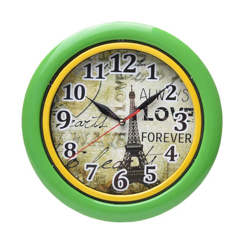 Miracle CL 02 Motif Menara Effiel Ring Jam Dinding - Green [25cm]