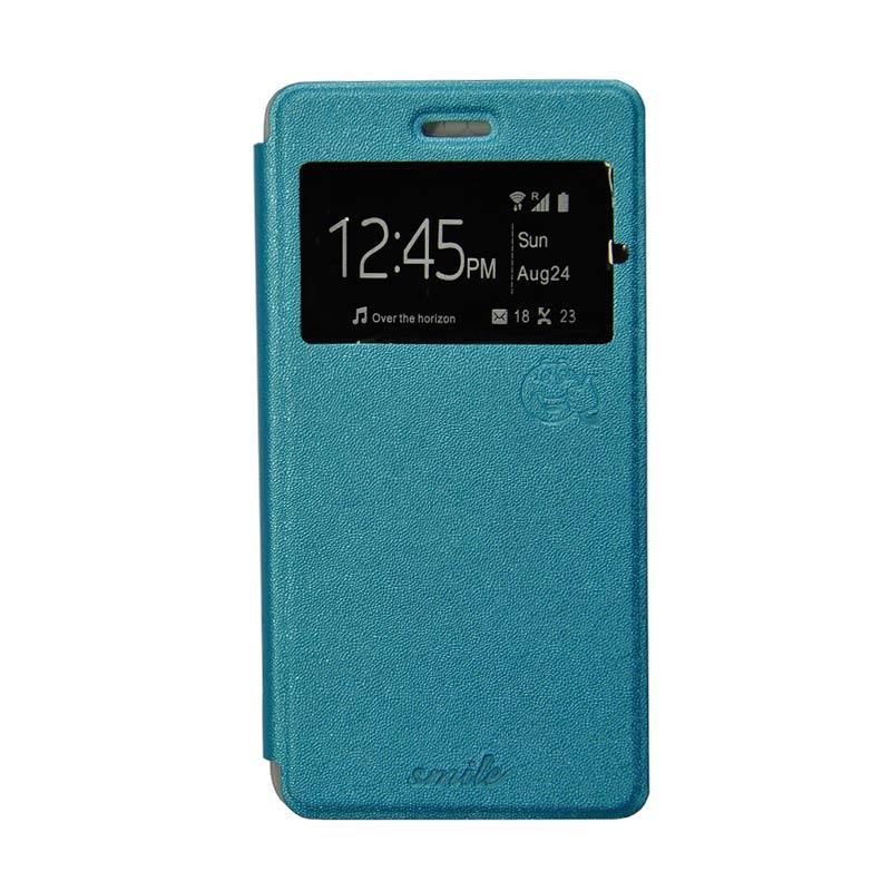 Smile Flip Cover Casing for Xiaomi Redmi 1S - Biru Muda