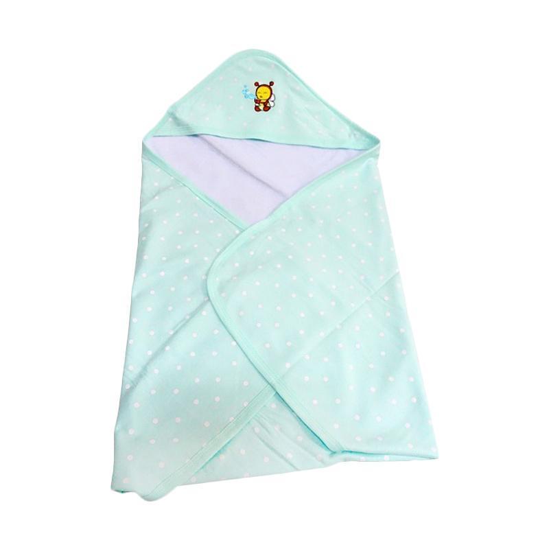 Babybee Fluffy Hooded Blanket Selimut Bayi - Polka Tosca Green