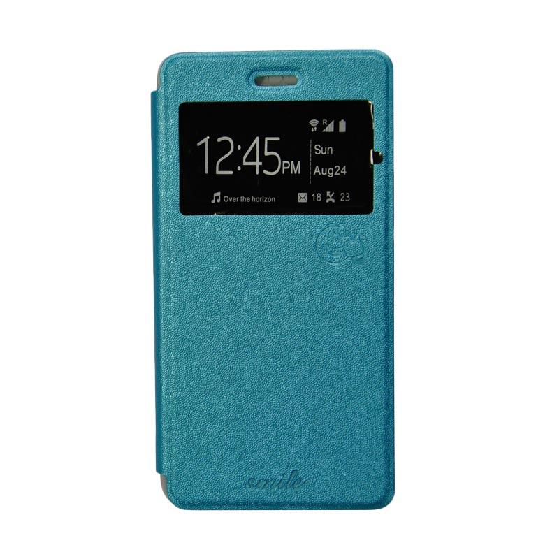 Smile Flip Cover Casing for Asus Zenfone 5 - Biru Muda