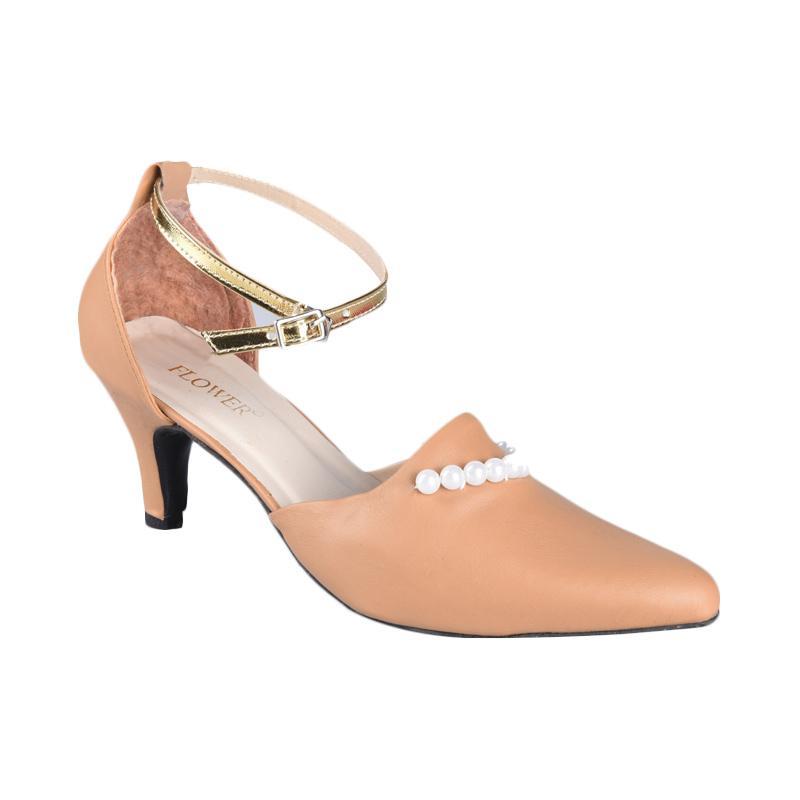 Flower SN-082 High Heels Sepatu Wanita - Brown