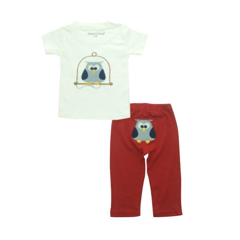 Bearhug Owl Set Pakaian Bayi Laki-laki [2 pcs] - Putih