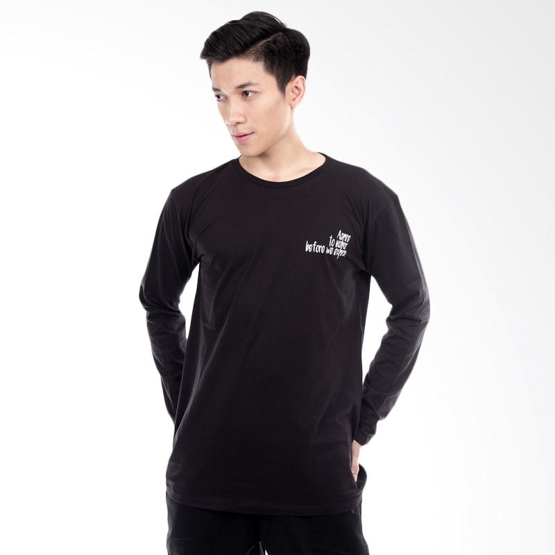Word O Inspire Lengan Panjang T-shirt - Hitam