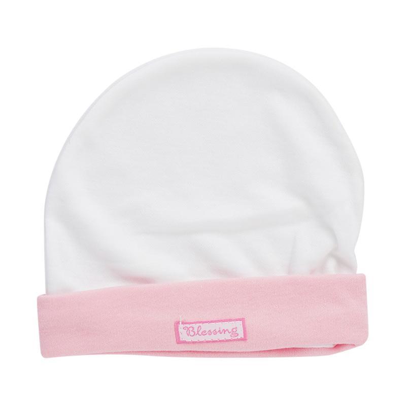 Topi bayi blessing polos putih pink