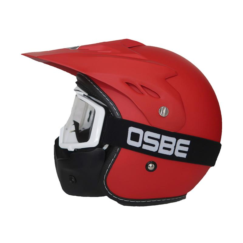 harga Osbe Japstyle Retro Klasik Helm Semi Cross Trail with While List Clear Visor Goggle Mask - Merah Glossy Blibli.com