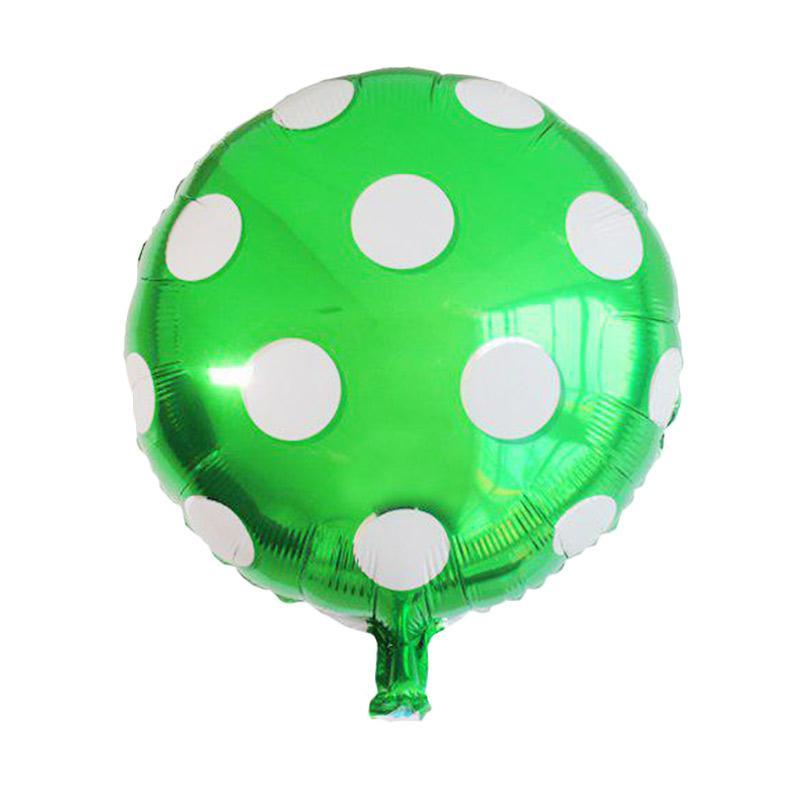 KUKUK Polkadot Bulat Foil Balon - Hijau [45 cm/ 10 pcs]