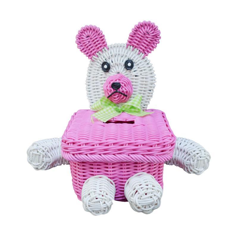 Ayumi Katsuko Dog Rotan Sintetis Tissue Box - Pink