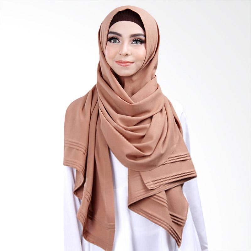 Cantik Kerudung Khloe Pleated Shawl Jilbab Instant - No.2 Cocoa