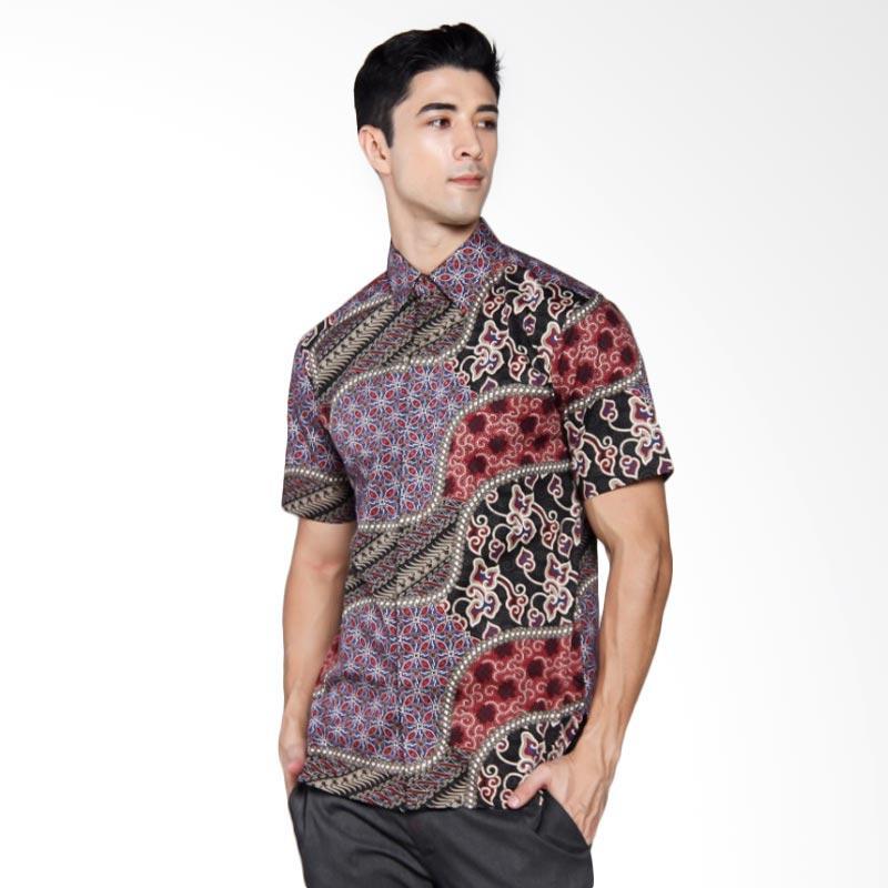 Batik Heritage Katun Premium Kawung Lurik Mega Mendung Slim Fit Kemeja Pria Lengan Pendek - Merah