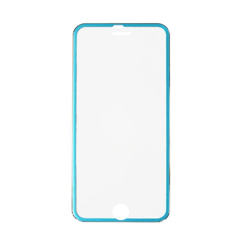 QCF Tempered Glass Ring Besi Aluminium Screen Protector for Apple iPhone 6 / iPhone6 / Iphone 6G / 6S 4.7 Inch Pelindung Layar - Biru