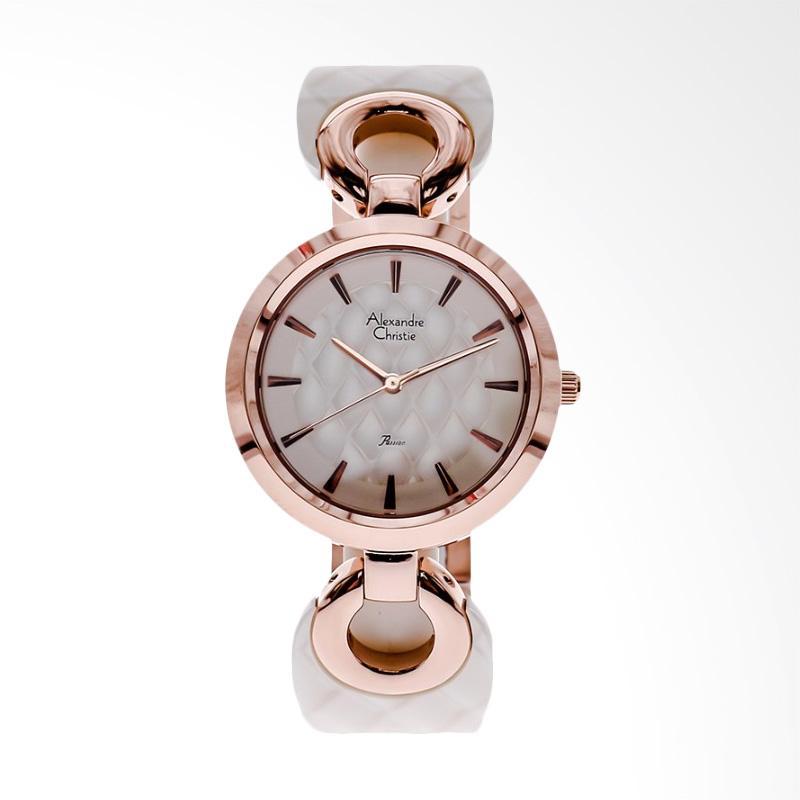 Alexandre Christie AC 2572 LH BRGSL White Dial Stainless Steel Jam Tangan Wanita