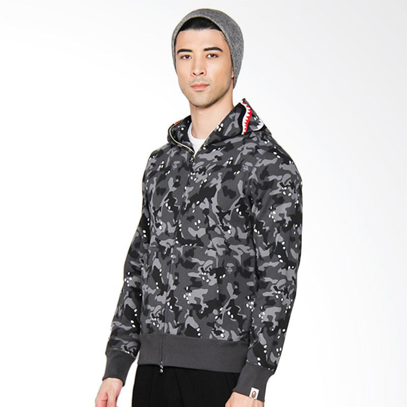 A Bathing Ape Desert Camo Shark Full Zip Hoodie Jacket Pria - Black