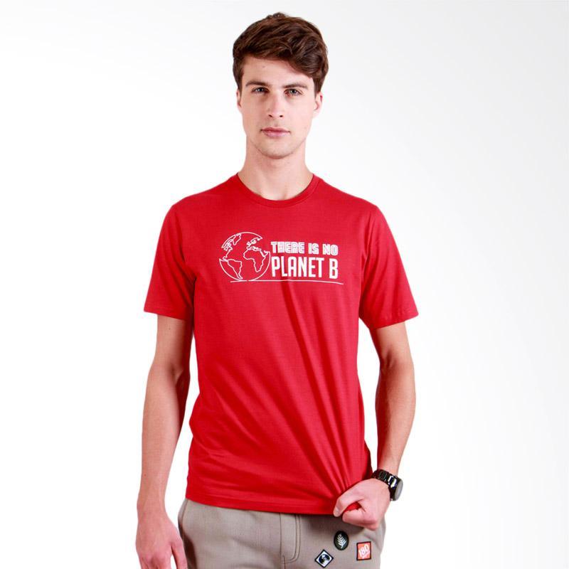 180 Degrees Planet B T-Shirt Pria - Merah