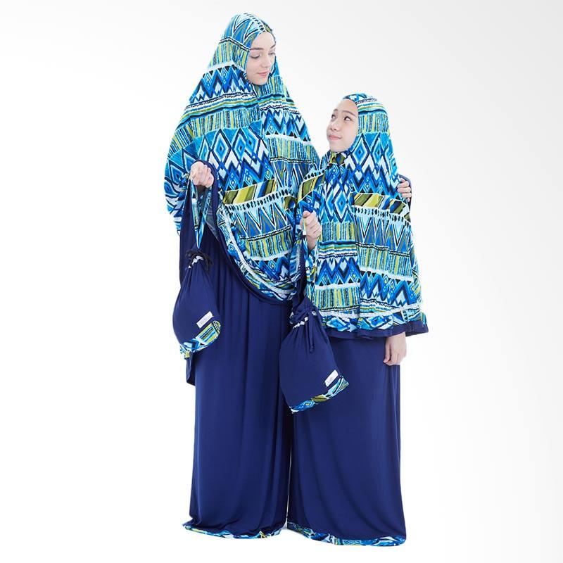 Boontie Tribal Jumbo Syar'i Mukena Couple - Biru