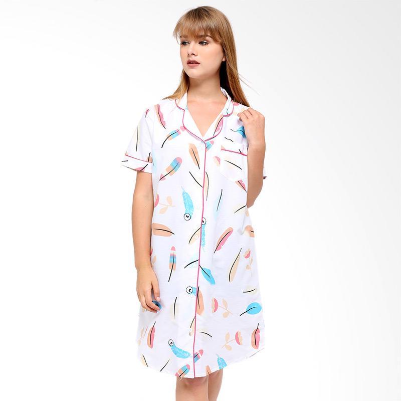 harga Madeleine Feather Sleepshirt Daster Pakaian Tidur Wanita - White Blibli.com