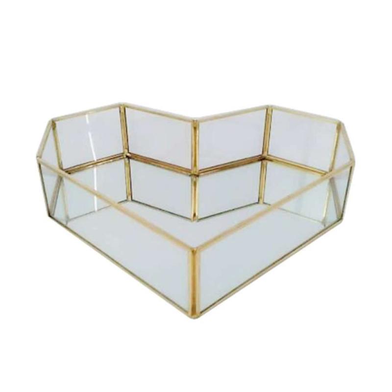 Jual Oem Gold Mirror Tray Decor Glass Storage Tray Jewelry Trinkets Keepsakes Display Online September 2020 Blibli Com