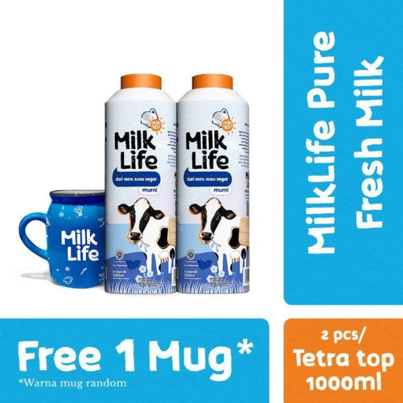 Bogor MilkLife Fresh Milk Murni 1000 mL 2 Pcs Free Mug