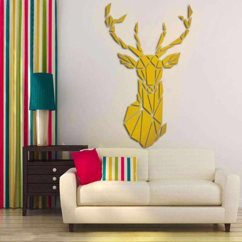 Jual Acrylic Mirror Diy Modern Deer Shape Wall Stickers Decals Home Living Room Decor Online Januari 2021 Blibli