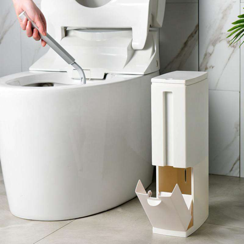 Small Garbage Can With Lid Toilet Brush, Bathroom Garbage Can With Lid
