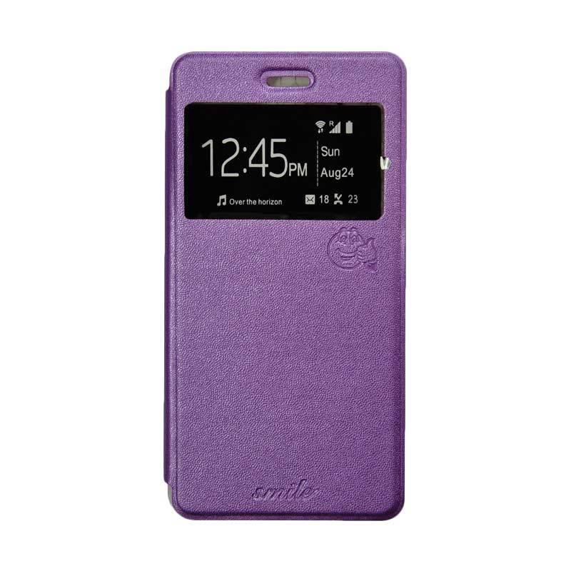 Smile Flip Cover Casing for Asus Zenfone Go ZB500KL 5 Inch - Ungu
