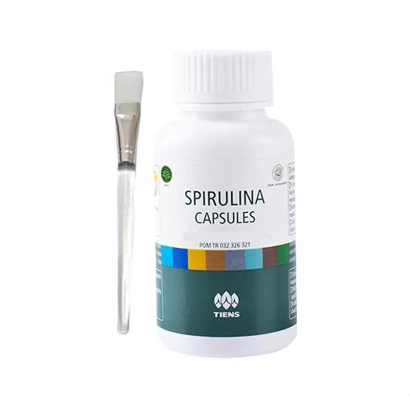 Tiens Masker Spirulina Herbal Pemutih Wajah - Paket 75 Kapsul (Gratis Kuas)