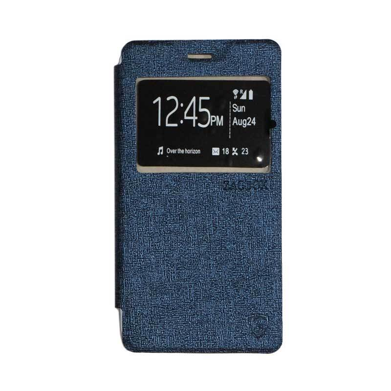 ZAGBOX Flip Cover Casing for Lenovo A6600 - Navy