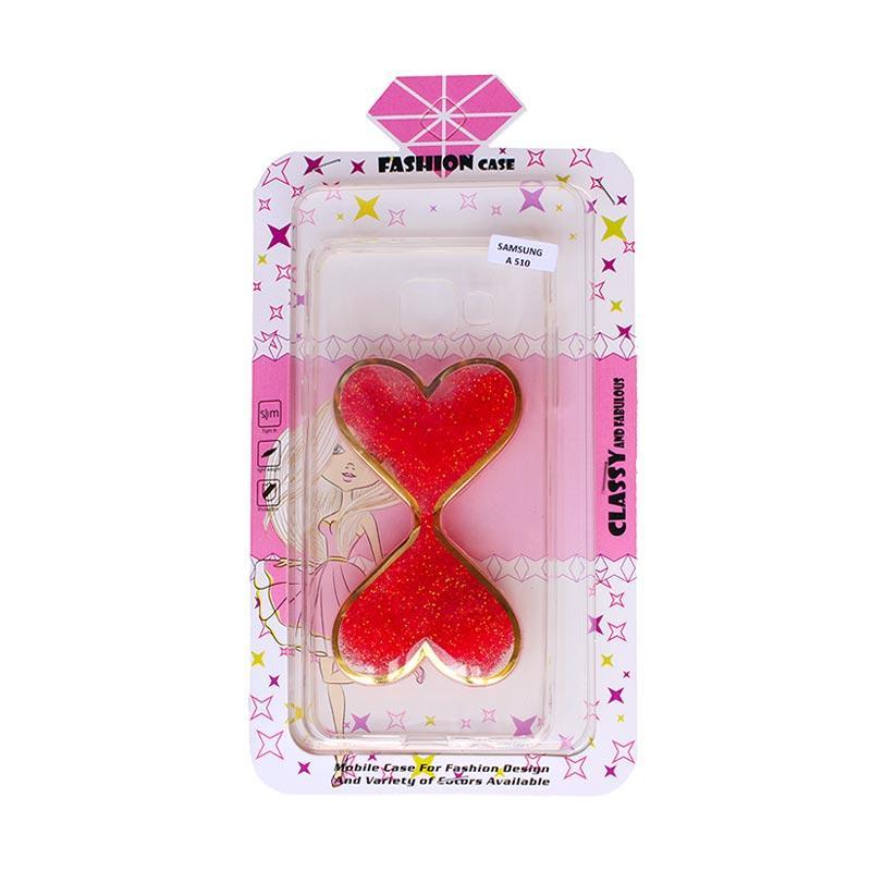 Fashion Case Gliter Love Casing for Samsung A510 - Red