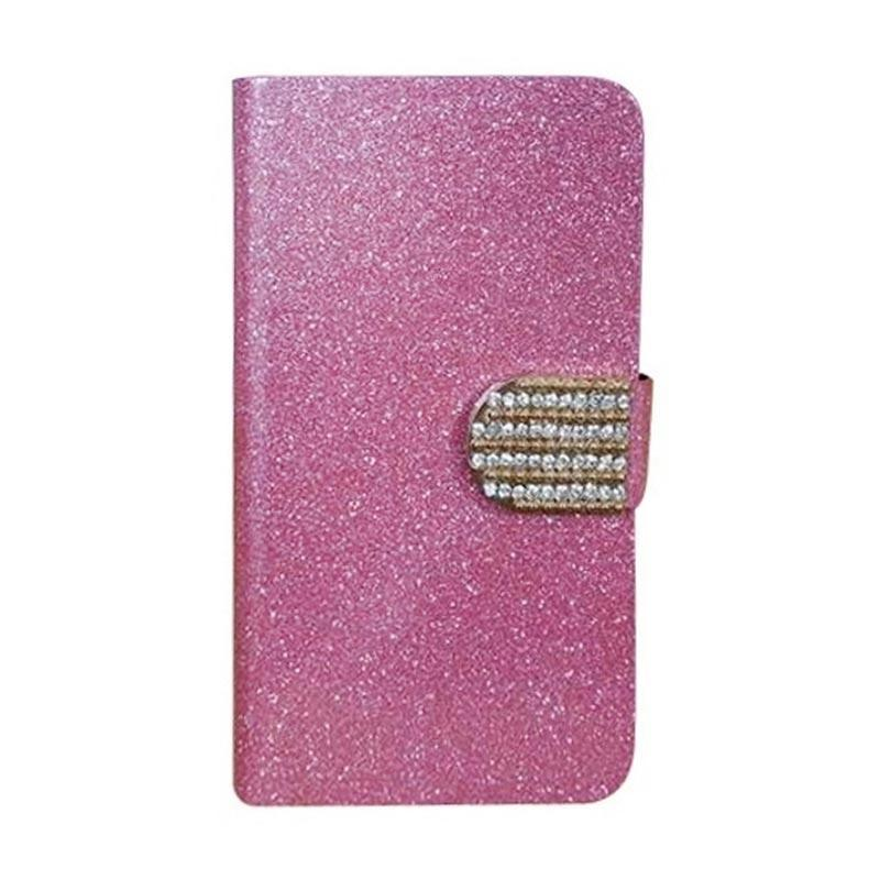 OEM Case Diamond Cover Casing for Oppo A59 - Merah Muda