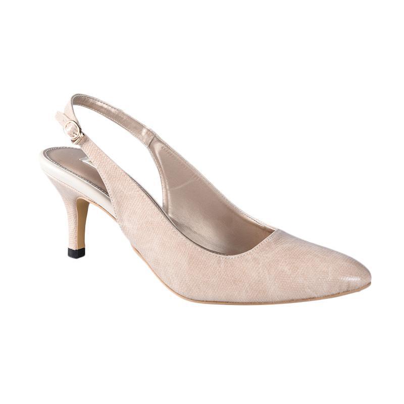 Lina Lee Donna Snake Sepatu Mid Low Heels - Cream