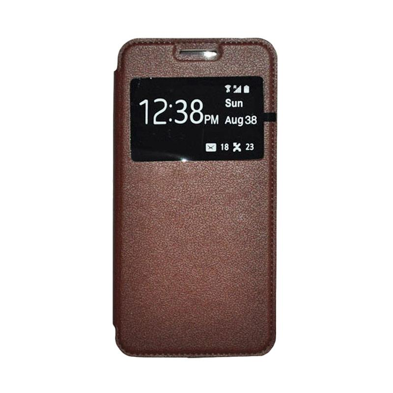 OEM Leather Book Cover Casing for Xiaomi M3 - Brown