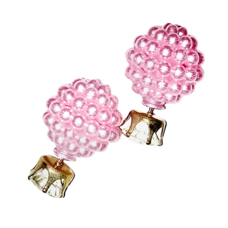 Anneui EE0053 Anting Double Pearl Candy Stud Pink