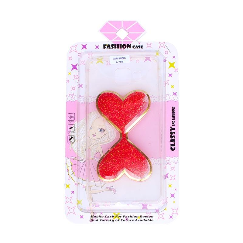 Fashion Case Gliter Love Casing for Samsung A710 - Red