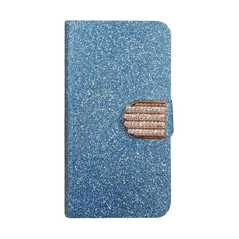 OEM Diamond Flip Cover Casing for Lenovo A390T - Biru