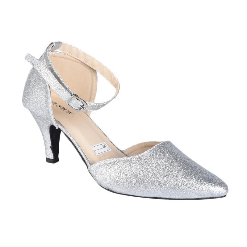 Flower SN-134B High Heels Sepatu Wanita - Silver