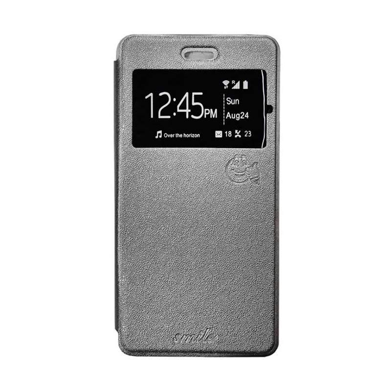 Smile Flip Cover Casing for Asus Zenfone Go 5 Inch ZB500KL - Abu-abu